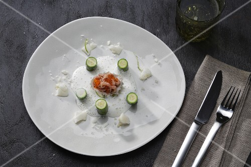Caviar with champagne foam and mini courgettes