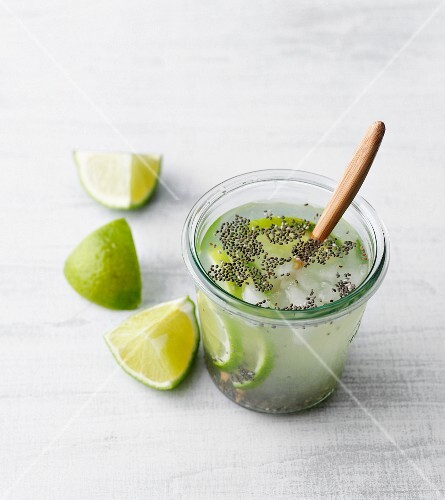 Chia seed drink with limes