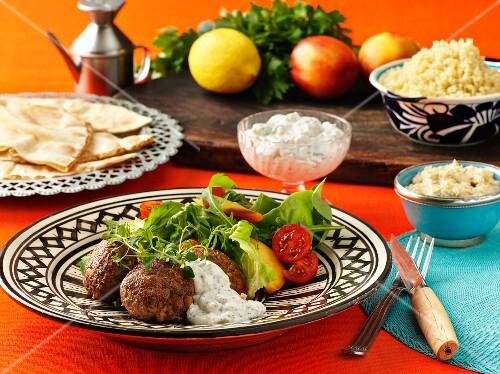 Meatballs with tzatziki (Greece)