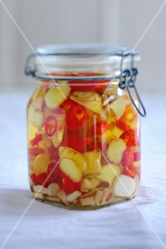 A ginger and chilli marinade in a flip-top jar