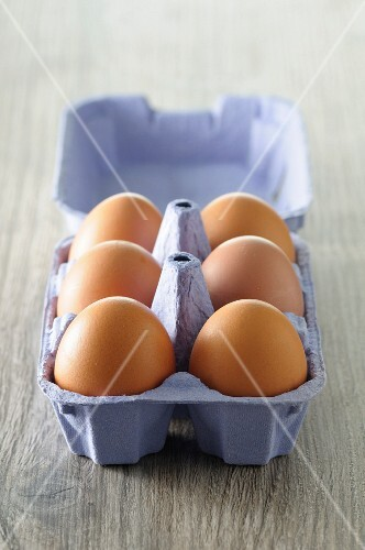 Six eggs in an egg box