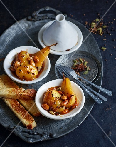 Spiced apples and pears with orange blossom brioche (North Africa)