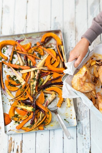 Caramelised carrots, parsnips and pumpkin with saffron chicken