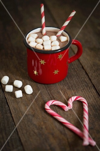 Hot chocolate with marshmallows and candy canes for Christmas