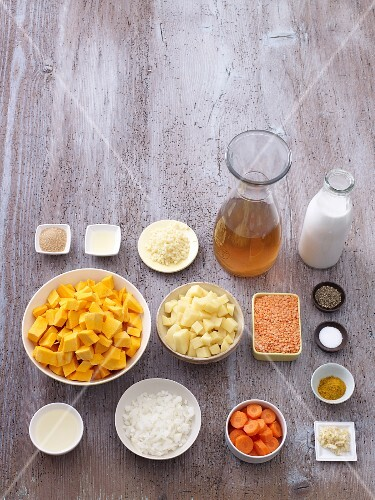 Ingredients for pumpkin and coconut soup
