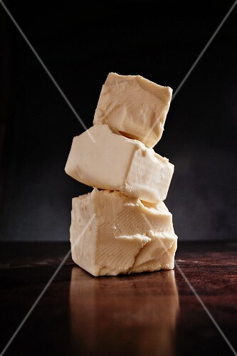 A stack of Provel cheeses (St. Louis, Missouri, USA)
