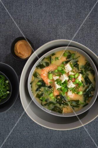Miso soup with prawns, edamame beans, seaweed, tofu and spring onions (Japan)