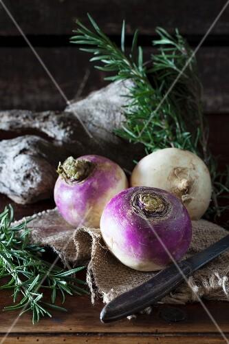 Turnips and fresh rosemary