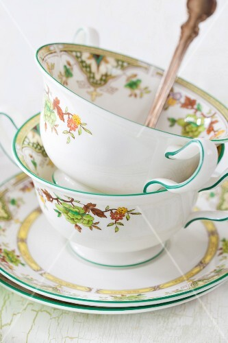 Soup cups with autumnal patterns
