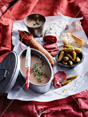 Homemade pâté, sausages and gherkins