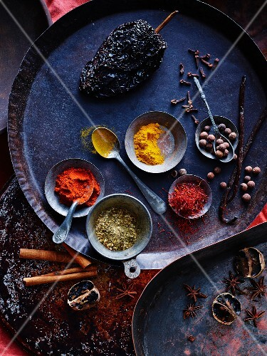Oriental spices on a metal tray