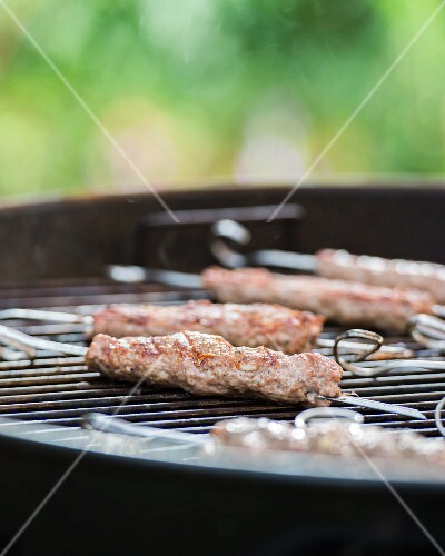 Lamb kebabs on a barbecue