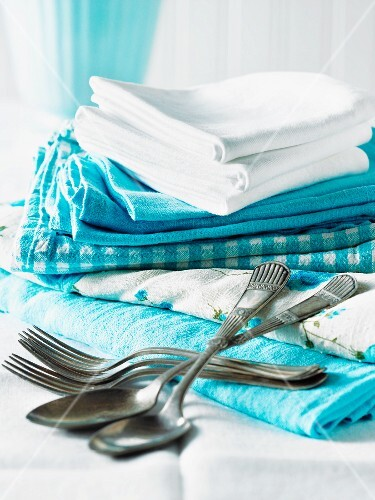 Blue and white cloths