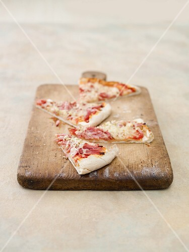 Sliced ham pizza