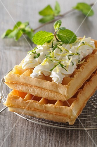 Waffles with vanilla and lemon