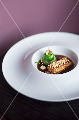 A dish from the restaurant Lafleur, eel with pork belly, Frankfurt am Main, Germany