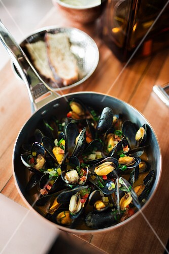 Mussels in a chorizo and white wine broth in Stanley Diamond, Frankfurt am Main, Germany