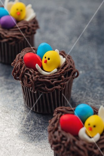 Chocolate cupcakes with sugar eggs for Easter