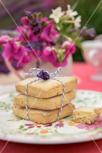 Lavender shortbread on a summer table outside