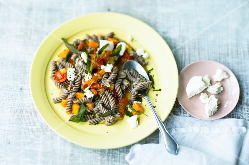 Carrot & sage pasta with goats' cream cheese