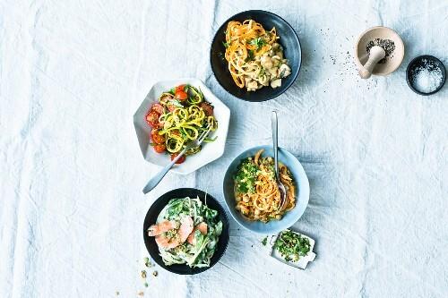 Various one pot vegetable spaghetti dishes