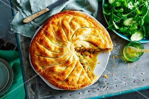 Moroccan chicken pie, sliced