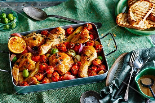 Spanish pepper chicken with vine tomatoes
