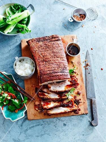 Crispy pork belly with caramel sauce and bok choy