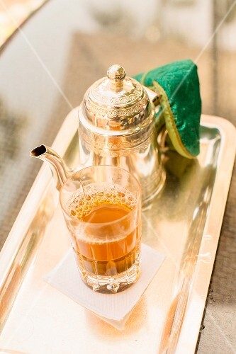 Traditional fresh peppermint tea served in Marrakesh, Morocco.