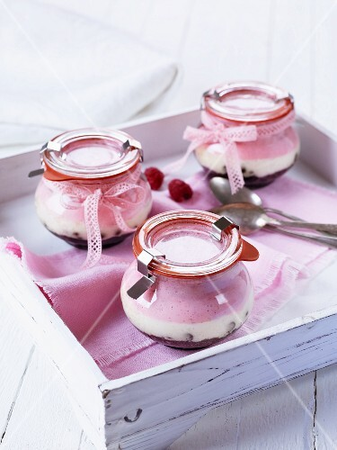 Raspberry cheesecake in glasses as gifts