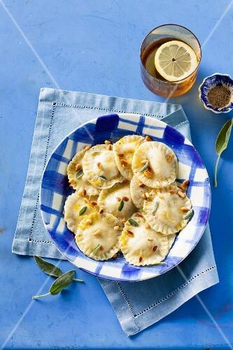 Creamy ravioli with ricotta, lemons, pine nuts and sage