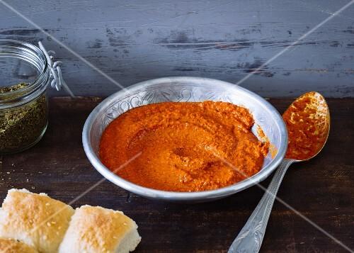 Homemade harissa spice paste