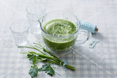 A moringa and courgette smoothie with parsley and celery
