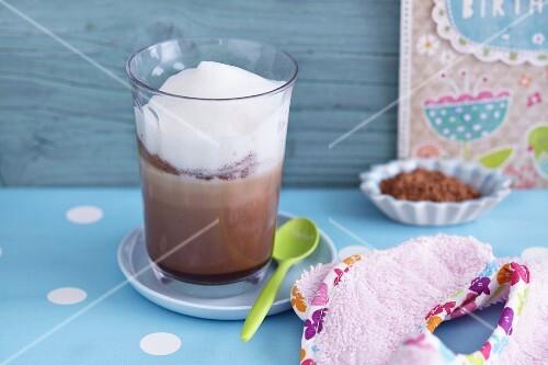 A babycino made with cocoa