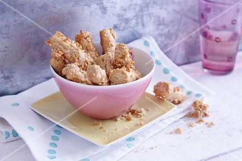 Crispy sticks in a pink bowl