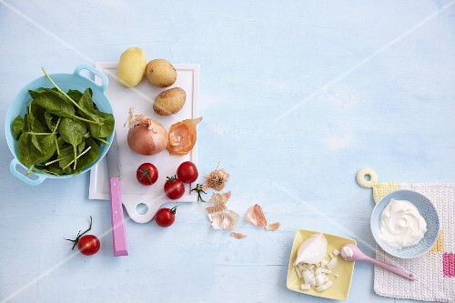 Healthy ingredients with children's dishes