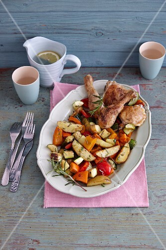Chicken legs with oven-roasted vegetables