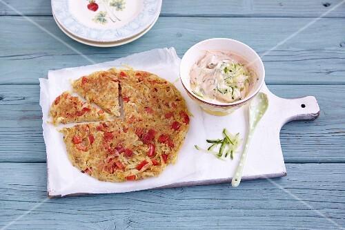 Potato cake with tzatziki
