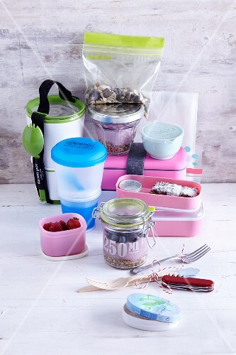 Various lunchboxes and plastic boxes for transporting food