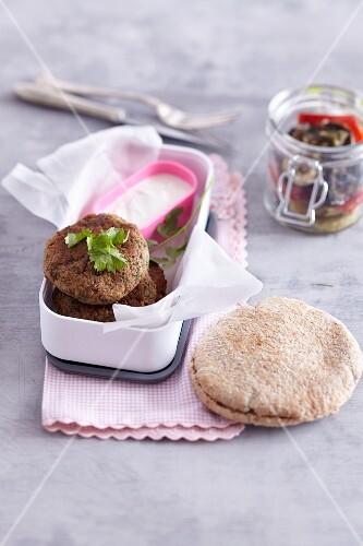 Lentil falafel in a pita bread