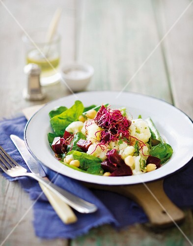 Cauliflower, chickpeas and a beetroot salad