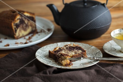 Marble cake served with tea