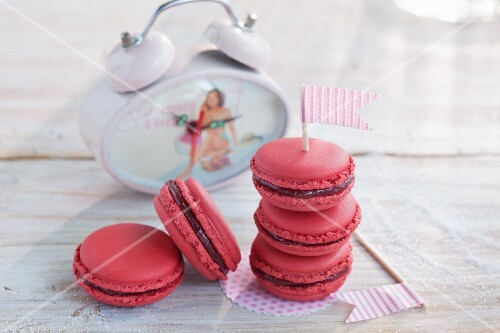 Rhubarb macaroons with a flag