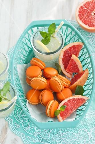 Pink grapefruit macaroons