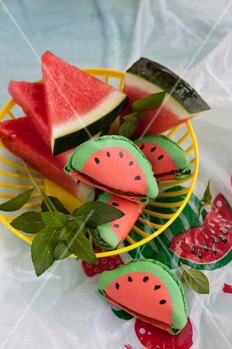Summer watermelon macaroons