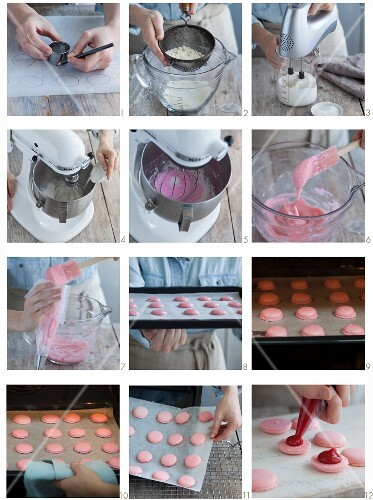 Raspberry macaroons being made