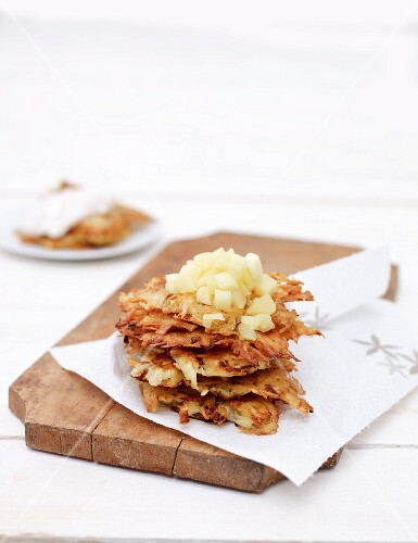 Potato fritters with apple compote