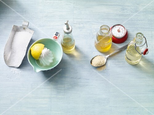 Oils, salt, lemon juice and oats for vegan spreads