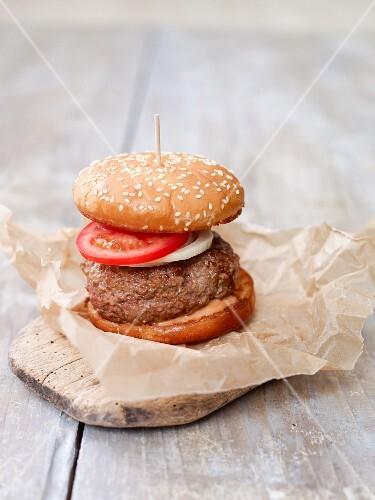 A hamburger made from tatar