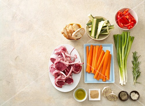 Ingredients for lamb chops and roasted vegetables